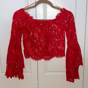 Red Lace Seek The Label from LF Crop Top